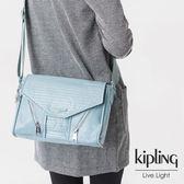 Kipling 雲彩淺藍素面側背包-小