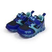 《FILA》兒童 電燈TPR慢跑鞋 黑藍色 7-J852S-303