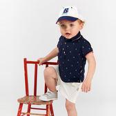 短袖套裝 Dave Bella 小童 大童 藍色船錨POLO短袖上衣+白色短褲 套裝2件組 DB8290