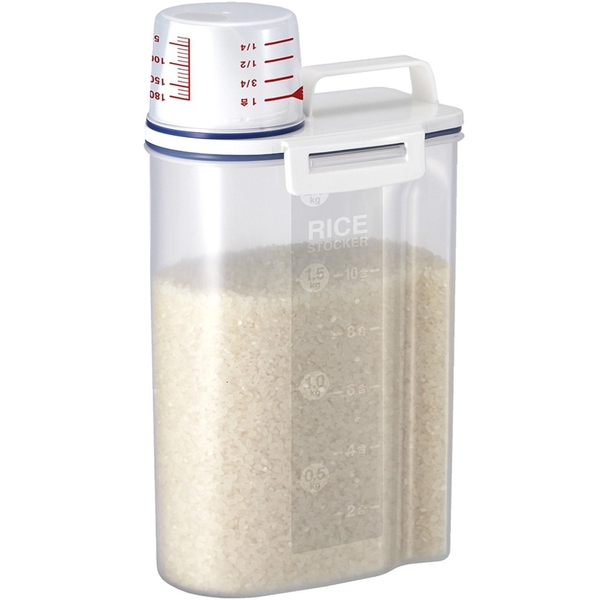 日式帶量杯手提五榖雜糧儲物罐米桶2.3L 防潮密封罐 食品收納罐【AB025】《約翰家庭百貨