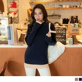《FA2389-》保暖高領假兩件拼接配色長袖針織上衣 OB嚴選