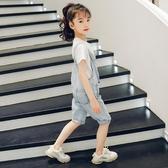 女童牛仔吊帶褲2020新款韓版褲子兒童洋氣五分褲中大童休閒吊帶褲 童趣