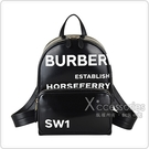 BURBERRY Horseferry印花白字LOGO防水PU牛皮飾邊拉鍊後背包(黑)