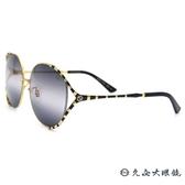GUCCI 太陽眼鏡 GG0595S (黑-金) 2019 珊瑚蛇系列 金屬圓框 墨鏡 久必大眼鏡