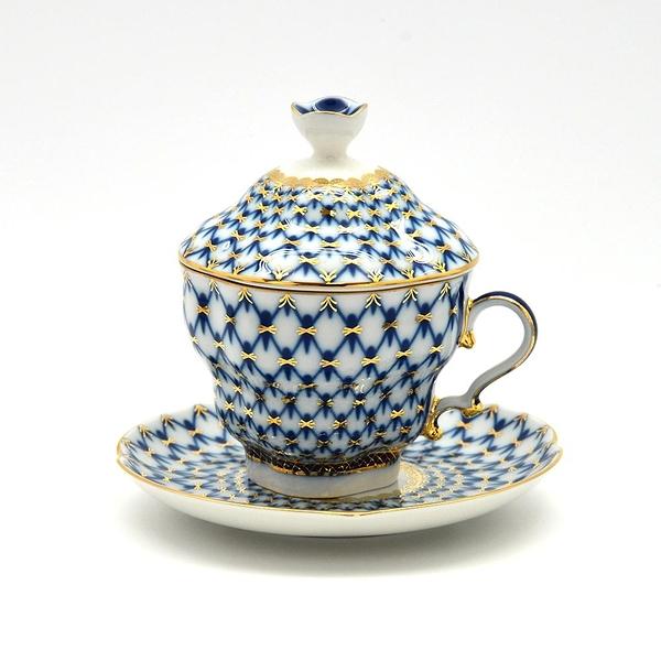 俄羅斯Imperial Porcelain-經典網紋系列-寶藍22K金手工-250ml有蓋杯盤禮組