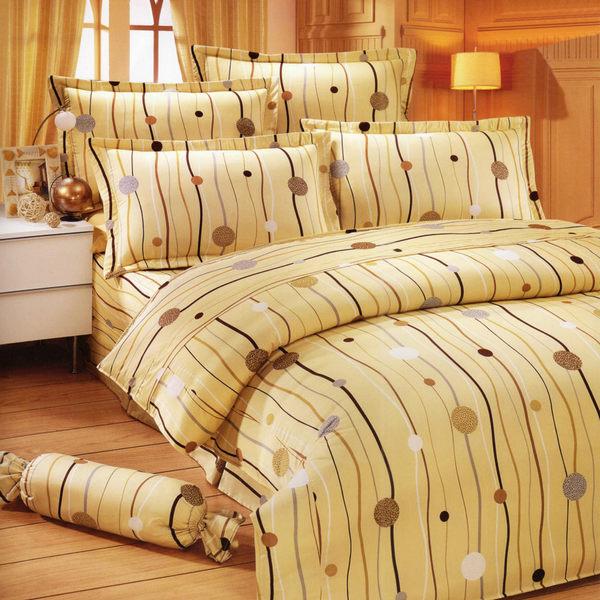 台灣製-跳動的音符 雙人特大(6x7呎)四件式鋪棉涼被床包組-米黃色[艾莉絲-貝倫]T4HC-KF2507YL-L