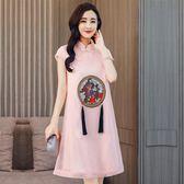 改良式旗袍 女夏氣質寬鬆中國風新款少女短款甜美 LR3162【VIKI菈菈】