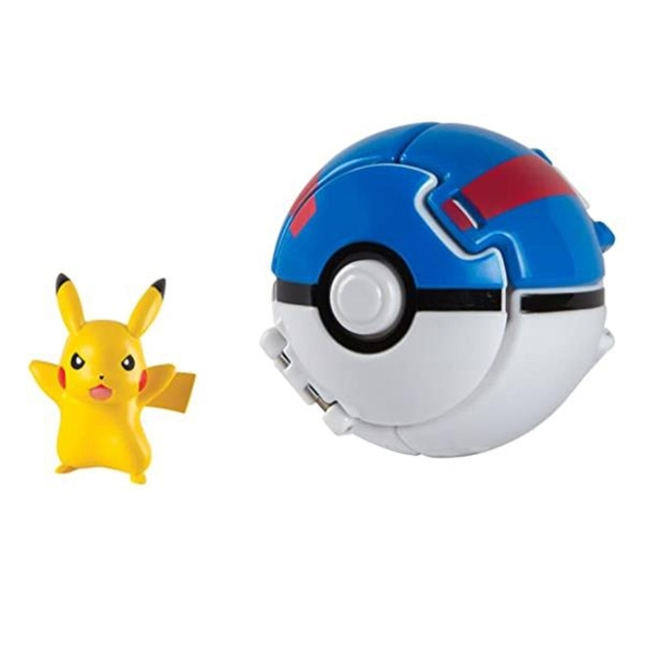 [9美國直購] Pokemon 精靈寶可夢 皮卡丘動作公仔玩具 Throw N Pop Great Ball with Pikachu Action Figure Toy Set