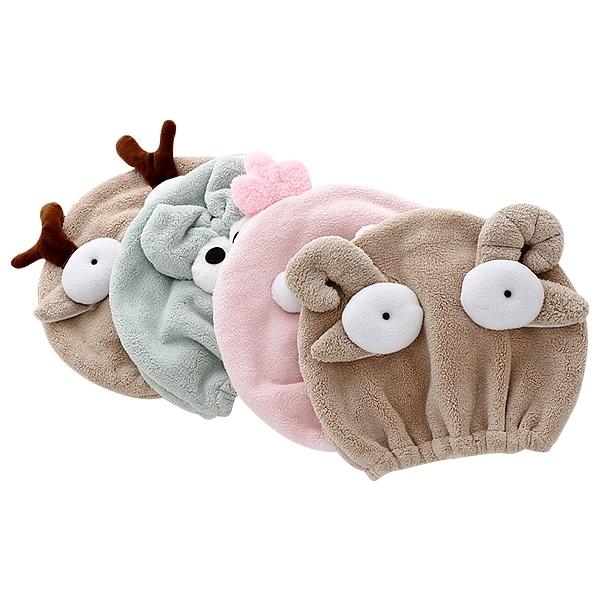 珊瑚絨可愛動物親子款乾髮帽(1入) 大人款/兒童款 圖案隨機出貨【小三美日】