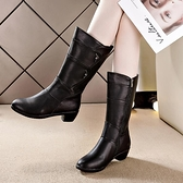 秋冬保暖中筒靴女2021新款加絨舒適馬丁靴中跟百搭英倫風棉靴子女 3C數位百貨
