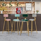 鐵藝吧椅簡約吧臺椅高腳凳吧臺凳家用北歐高腳椅子靠背酒吧椅現代 快速出貨 YYP