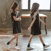 女童夏裝海軍風洋裝2021新款純棉兒童網紅洋氣短袖裙子潮中大童 幸福第一站