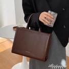 秋季日系高級感通勤公文包韓版文藝手提包時尚大容量側背斜背包女 黛尼時尚精品