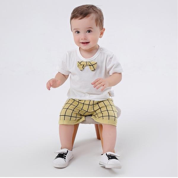 領結短袖造型套裝 英倫風短袖上衣褲子休閒套裝 居家服 兒童套裝 小鮮肉套裝 LYT35