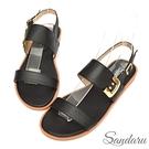 涼鞋 造型金釦一字帶平底涼鞋-黑