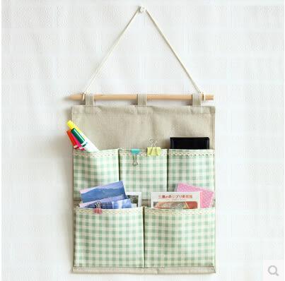 日系棉麻波點五格子收納袋房門牆壁掛袋雜物袋