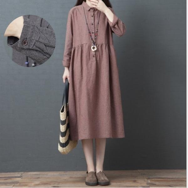 漂亮小媽咪 文藝洋裝【D8943】 條紋 翻領 文藝 長袖 寬鬆 洋裝 襯衫洋裝 開扣 細條紋 孕婦裝