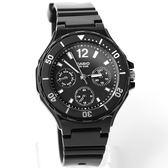 CASIO卡西歐全黑三眼個性膠錶 NEC140