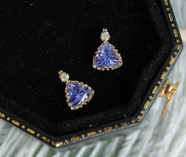 純18K金鑲鑽石 天然丹泉石墜子 優惠價