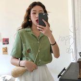 襯衫 新品女裝刺繡短袖襯衣正韓設計感小眾襯衫很仙的上衣學生