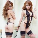 情趣內衣 現貨 黑色蕾絲深V裸背綁帶性感連身衣-愛衣朵拉