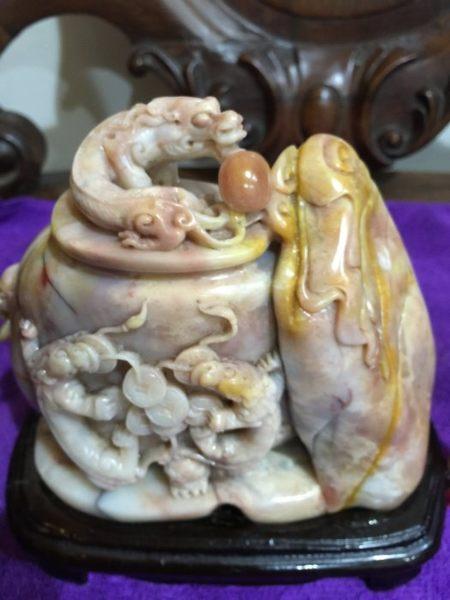 森寶藝品傢俱 壽山石 石雕 聚寶盆