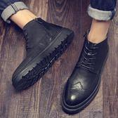 男短靴 男靴子 秋冬男鞋高幫鞋皮鞋韓版潮鞋英倫布洛克側拉鏈短皮靴馬丁靴《印象精品》q1488