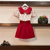 VK精品服飾 韓國風植物紋印花娃娃領衫短褲套裝短袖褲裝