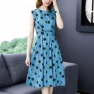 洋裝 氣質優雅赫本風中長裙藍色波點無袖背心連身裙 萬聖節鉅惠