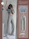 藍色格子褲子女寬鬆直筒夏季薄款2021新款高腰垂感顯瘦西裝闊腿褲 喵小姐