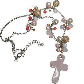 【波克貓哈日網】日本造型項鍊  ◇Crystal Heart◇《十字架造型》百搭珍珠十字架項鍊