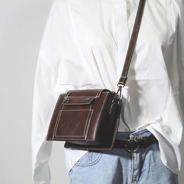復古油皮側背包 女單肩斜背包【非凡上品】t2057