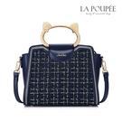 手提包 金絲呢料可愛貓咪手提方包 氣質藍-La Poupee樂芙比質感包飾 (預購+好禮)