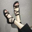 羅馬涼鞋 交叉綁帶涼鞋平底沙灘涼鞋2020新款女百搭黑色