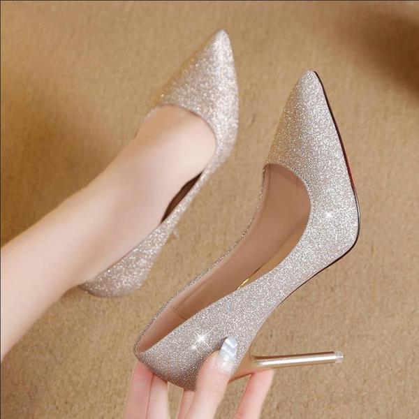 婚鞋女細跟水晶鞋2020年新款性感女士高跟鞋亮片秀禾服中式新娘鞋 霓裳細軟