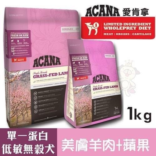 ACANA愛肯拿 單一蛋白低敏無穀配方(美膚羊肉+蘋果)1kg.適合飲食較敏感的狗狗.犬糧