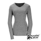 PolarStar 女 遠紅外線V領長袖排汗衣 (吸濕快乾│膠原蛋白│台灣素材│抗靜電)『黑』P17228