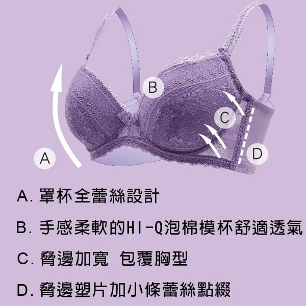思薇爾-迷漾花園系列A-E罩壓模蕾絲包覆內衣(英國藍)