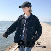 外套/寬鬆明線裝飾水洗牛仔女上衣「歐洲站」