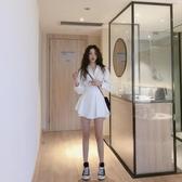 撲啦啦韓風寬鬆中長款長袖襯衫闊腿短褲白色兩件套法國小眾套裝女