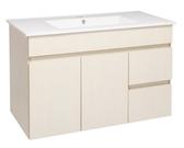*素雅簡約風*洗臉盆浴櫃 寬91*深47cm 含水龍頭及安裝配件 防水PVC發泡板 精緻木紋貼皮