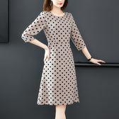 洋裝 優雅氣質休閒時尚法式復古波點收腰修身中袖連身裙 超值價