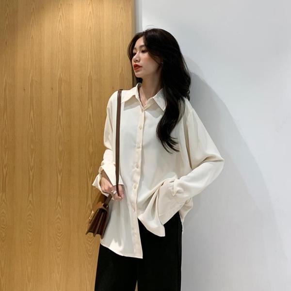 雪紡外套 2021年春裝新款寬鬆設計感小眾白色襯衣女薄款垂感外套雪紡白襯衫 非凡小鋪