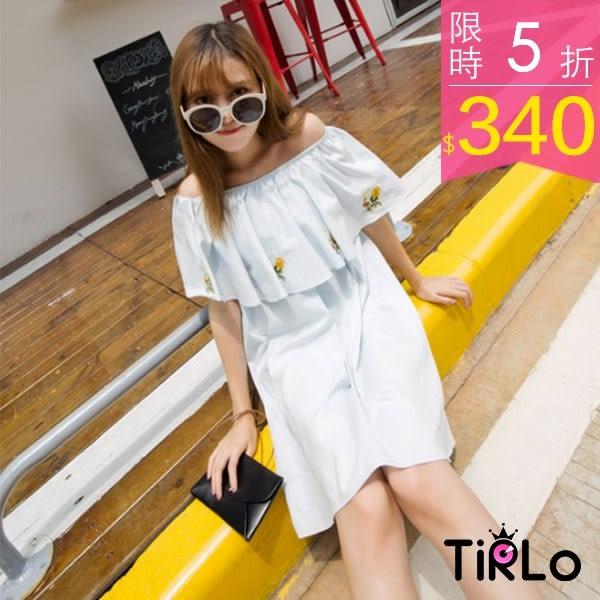 洋裝-Tirlo-質感洋氣露肩一字領刺繡洋裝-兩色(現+追加預計5-7工作天出貨)