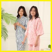 日式睡衣女純棉 和服浴衣汗蒸服 全棉紗布家居服套裝薄款交叉哺乳