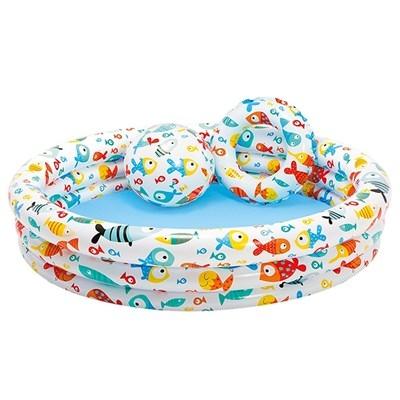 [衣林時尚] INTEX 海底世界游泳池組 (泳池+泳圈+沙灘球) 132CM X 28CM 59469
