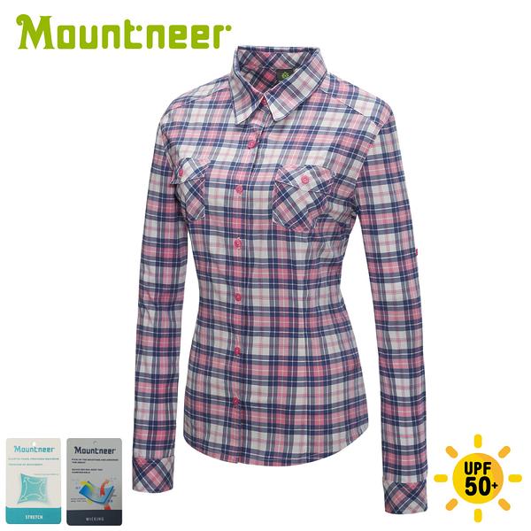 【Mountneer 山林 女 彈性抗UV格子長袖襯衫《粉紅》】31B06/薄襯衫/防曬襯衫