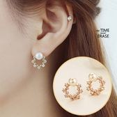925 純銀耳環珍珠耳針式搶眼潮流鑲鑽生日情人節 女飾品2 色73ag193 巴黎