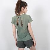 短袖健身衣女速干跑步夏季運動罩衫寬松美背t恤鏤空運動瑜伽上衣