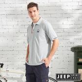 【JEEP】復古造型素面短袖POLO衫-灰